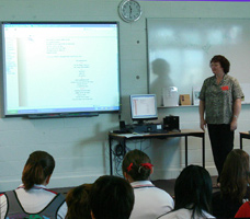 Jennifer Phillips sharing her poetry with Amaroo School students